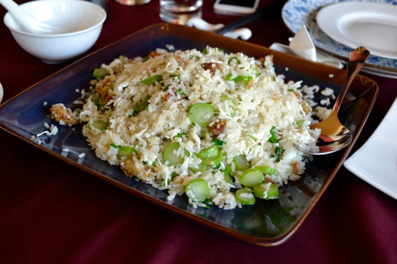 Fried rice with egg whites and foie gras