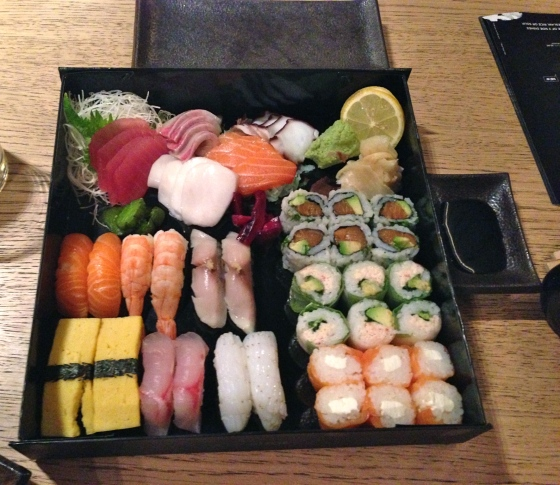 Nigiri, sashimi, and maki for two