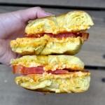 Cream-cheezit and tomato bagel
