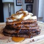 Banana Chocolate Chia Oat Pancakes (Vegan/Gluten-free)